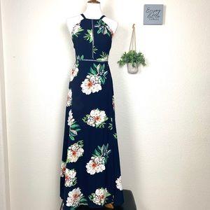 Hello Molly Floral Navy Halter Maxi Dress